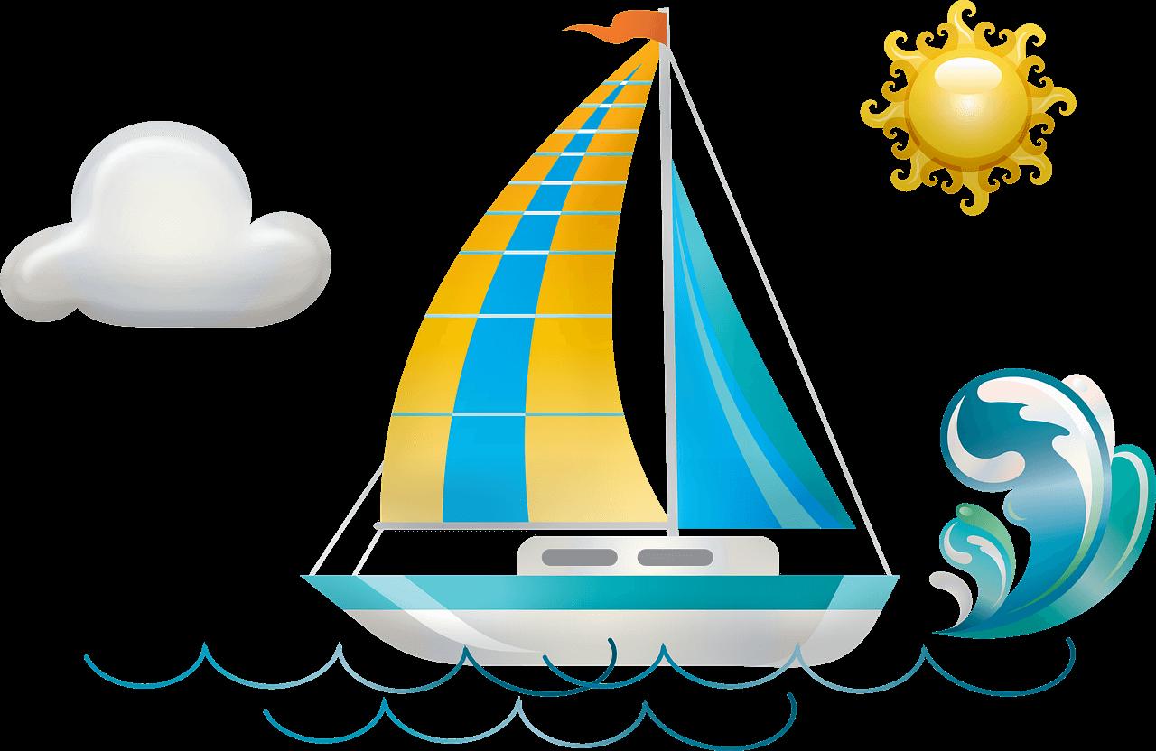 boat, waves, sun